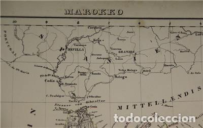Arte: Mapa del norte de Marruecos y sur de España y Portugal, 1846. Carl Flemming - Foto 9 - 123471987