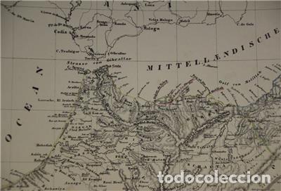 Arte: Mapa del norte de Marruecos y sur de España y Portugal, 1846. Carl Flemming - Foto 10 - 123471987