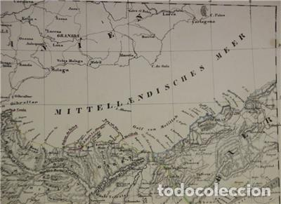 Arte: Mapa del norte de Marruecos y sur de España y Portugal, 1846. Carl Flemming - Foto 11 - 123471987
