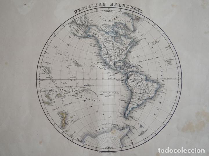 MAPA DEL HEMISFERIO NORTE DEL MUNDO (AMÉRICA), 1844. FLEMMING (Arte - Cartografía Antigua (hasta S. XIX))