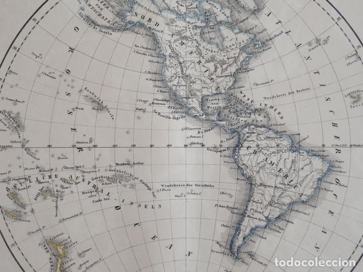 Arte: Mapa del Hemisferio Norte del Mundo (América), 1844. Flemming - Foto 3 - 123476803