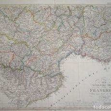 Arte: MAPA DE LA PARTE MERIDIONAL DE FRANCIA Y ESPAÑA, 1854. STIELER/PERTHES. Lote 123491615