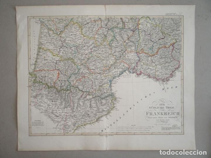 Arte: Mapa de la parte meridional de Francia y España, 1854. Stieler/Perthes - Foto 2 - 123491615