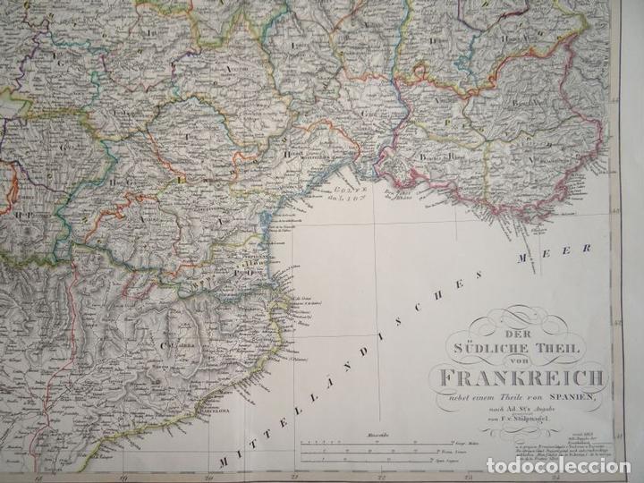 Arte: Mapa de la parte meridional de Francia y España, 1854. Stieler/Perthes - Foto 3 - 123491615