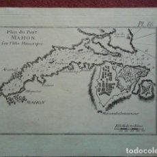Arte: PLAN DU PORT MAHON SUR L'ÎLE DE MINORQUE.. Lote 124145955