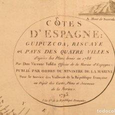 Arte: MAPA GRABADO FRANCES COSTA GUIPUZCOA BILBAO SANTANDER ASTURIAS - TOFINO - 1793. Lote 131123232