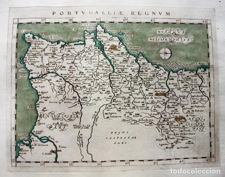 Arte: Mapa del Reino de Portugal, 1596. Ptolomeo/Magini/Karera/Porro - Foto 2 - 124531419