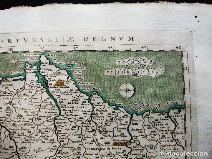 Arte: Mapa del Reino de Portugal, 1596. Ptolomeo/Magini/Karera/Porro - Foto 3 - 124531419