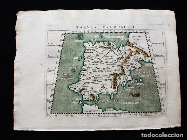 MAPA DE ESPAÑA Y PORTUGAL, TABULA EUROPAE II, 1596. PTOLOMEO/MAGINI/KARERA/PORRO (Arte - Cartografía Antigua (hasta S. XIX))