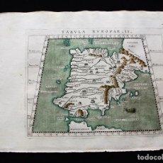 Arte: MAPA DE ESPAÑA Y PORTUGAL, TABULA EUROPAE II, 1596. PTOLOMEO/MAGINI/KARERA/PORRO. Lote 124532571