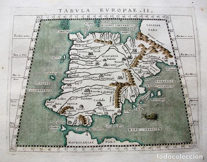 Arte: Mapa de España y Portugal, Tabula Europae II, 1596. Ptolomeo/Magini/Karera/Porro - Foto 2 - 124532571