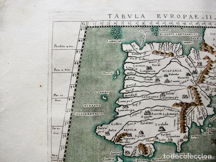 Arte: Mapa de España y Portugal, Tabula Europae II, 1596. Ptolomeo/Magini/Karera/Porro - Foto 3 - 124532571