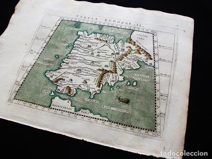 Arte: Mapa de España y Portugal, Tabula Europae II, 1596. Ptolomeo/Magini/Karera/Porro - Foto 5 - 124532571