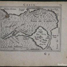Arte: MAPA DE LA BAHÍA DE CÁDIZ (ESPAÑA), 1602. ORTELIUS. Lote 125303735