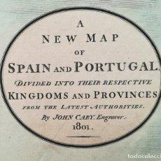 Arte: MAPA DE ESPAÑA Y PORTUGAL - JOHN CARY AÑO 1801. Lote 125304487