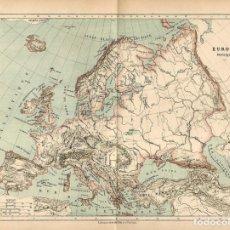 Arte: MAPA ORIGINAL SIGLO XIX- EUROPA - MAPA FISICO - OROGRAFIA - HIDROGRAFIA - . Lote 125732455