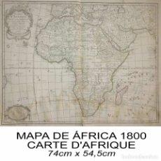 Arte: MAPA ÁFRICA CARTE D'AFRIQUE 1800 VER FOTOS Y VIDEO. Lote 113718351