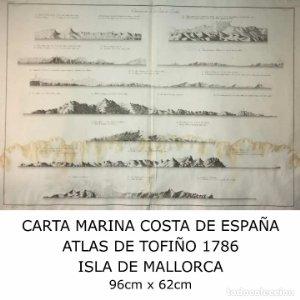 Carta marina Costa de España. Atlas de Tofiño. Mapa Isla de Mallorca 1786