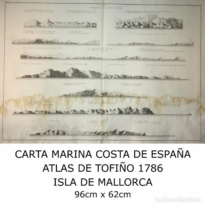 Arte: 1786 Carta marina Costa de España. Atlas de Tofiño. Mapa Isla de Mallorca 96cm x 62cm - Foto 8 - 113719919