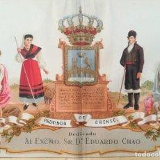 Arte: MAPA GRABADO PROVINCIA DE ORENSE - BORONAT AÑO 1875. Lote 126296567