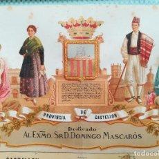 Arte: MAPA GRABADO PROVINCIA CASTELLON - BORONAT 1875. Lote 126484587