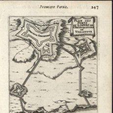 Arte: FORTALEZA DE VILANOVA DE CERVEIRA (PORTUGAL) Y TOMIÑO EN PONTEVEDRA (GALICIA, ESPAÑA), 1672. MALLET. Lote 126811339
