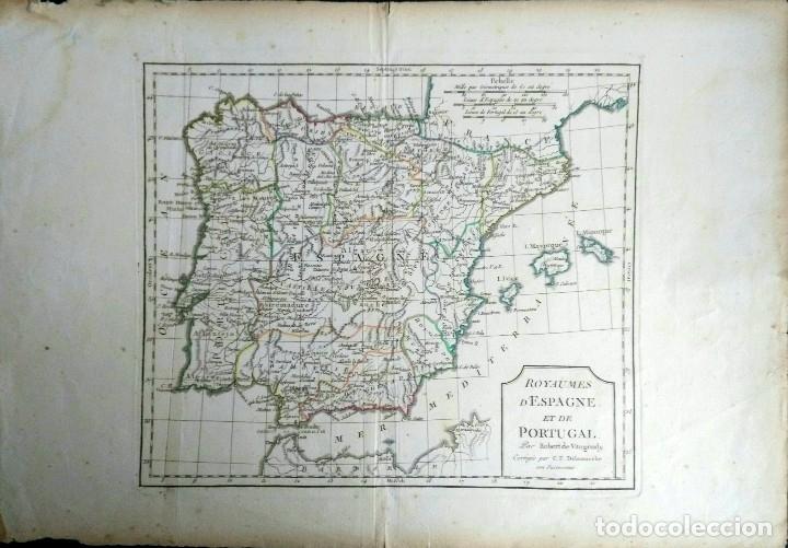 MAPA ANTIGUO ESPAÑA AÑO 1795 CON CERTIFICADO DE AUTENTICIDAD. MAPAS ANTIGUOS DE ESPAÑA (Arte - Cartografía Antigua (hasta S. XIX))