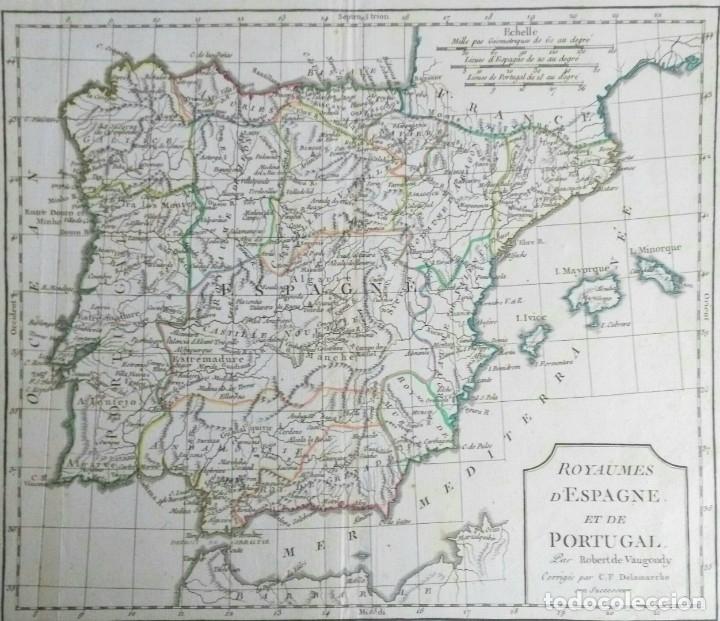 Arte: Mapa antiguo España año 1795 con certificado de autenticidad. Mapas antiguos de España - Foto 2 - 114674939