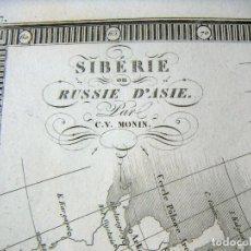 Arte: MAPA ANTIGUO ORIGINAL DE SIBERIA O RUSIA DE ASIA - SIBÉRIE OU RUSSIE D'ASIE POR C.V.MONIN. Lote 127505879