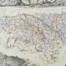 Arte: MAPA GRABADO BSES PYRENEES - PIRINEOS OCCIDENTAL FRANCIA - LEVASSEUR - AÑO 1850 - ORIGINAL. Lote 128224695
