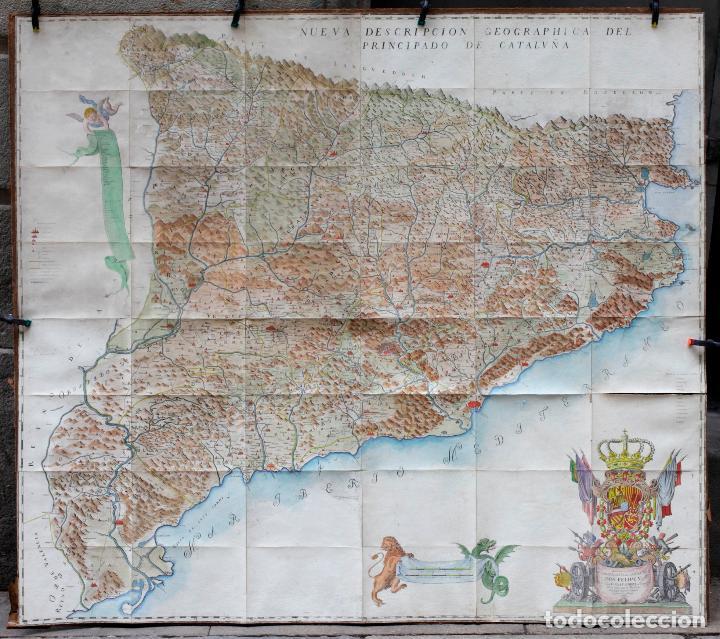 NUEVA DESCRIPCIÓN GEOGRAPHICA DE CATALUÑA , JOSEP APARICI, 1769. EDICIÓN DE 1720. COLOREADO. (Arte - Cartografía Antigua (hasta S. XIX))