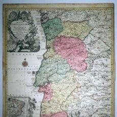 Arte: GRAN MAPA DEL REINO DE PORTUGAL Y BRASIL, 1762. LOTTER/SEUTTER. Lote 128252295