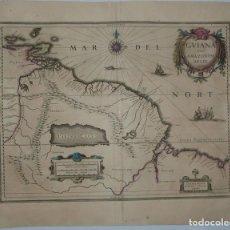 Arte: MAPA DEL RÍO AMAZONAS Y LAS GUAYANAS (AMÉRICA DEL SUR), 1663. W.BLAEU. Lote 128258883