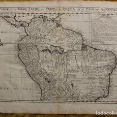 Arte: GRAN MAPA DE BRASIL, VENEZUELA, COLOMBIA Y ECUADOR (AMÉRICA DEL SUR), 1719. CHATELAIN/GUEDEVILLE. Lote 128260983