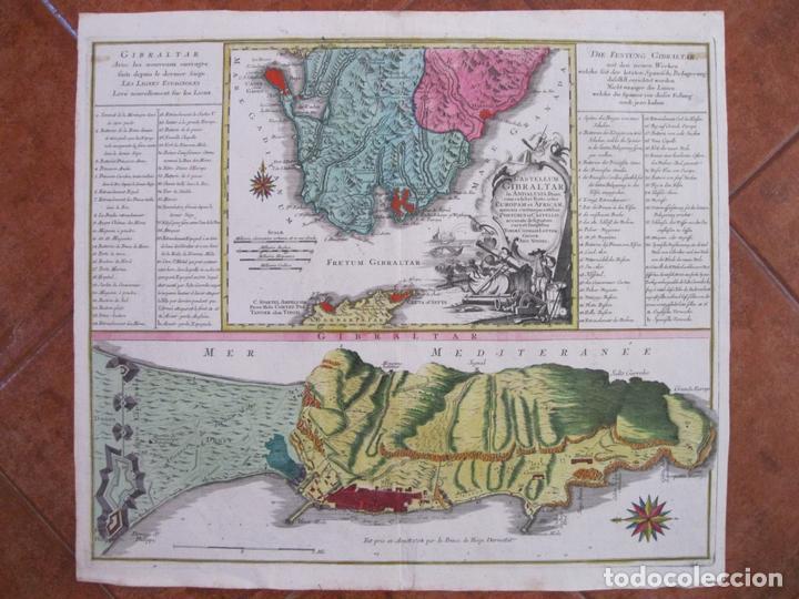 GRAN MAPA CON DOS VISTAS DEL PUERTO Y CIUDAD DE GIBRALTAR ( SUR DE ESPAÑA), 1770. LOTTER (Arte - Cartografía Antigua (hasta S. XIX))