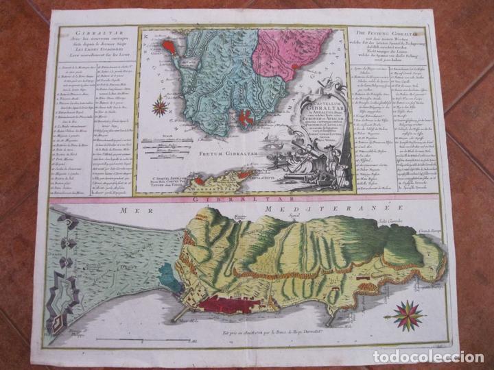 Arte: Gran mapa con dos vistas del puerto y ciudad de Gibraltar ( sur de España), 1770. Lotter - Foto 2 - 128347259
