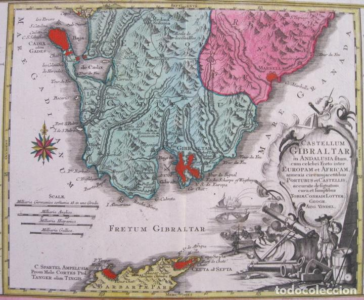 Arte: Gran mapa con dos vistas del puerto y ciudad de Gibraltar ( sur de España), 1770. Lotter - Foto 3 - 128347259