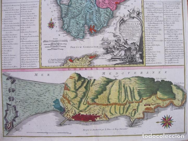 Arte: Gran mapa con dos vistas del puerto y ciudad de Gibraltar ( sur de España), 1770. Lotter - Foto 4 - 128347259