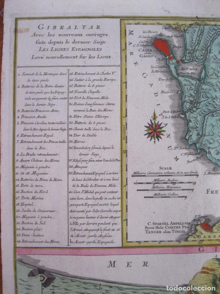 Arte: Gran mapa con dos vistas del puerto y ciudad de Gibraltar ( sur de España), 1770. Lotter - Foto 5 - 128347259