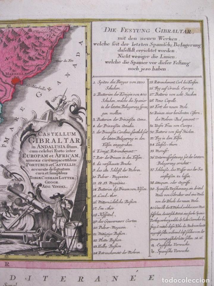 Arte: Gran mapa con dos vistas del puerto y ciudad de Gibraltar ( sur de España), 1770. Lotter - Foto 6 - 128347259