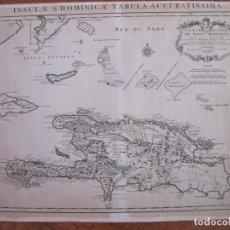 Arte: MAPA DE LA ISLA DE SANTO DOMINGO (MAR CARIBE, AMÉRICA), 1740. DELISLE/COVENS Y MORTIER. Lote 128357031