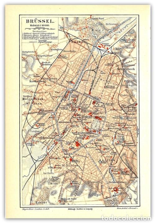 Mapa Original Siglo Xix Plano De Bruselas Be Buy Antique