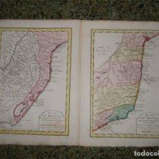 Arte: DOS MAPAS DEL LITORAL ORIENTAL DE BRASIL (AMÉRICA DEL SUR), CIRCA 1770. ANVILLE/BELLIN/KREVELT. Lote 128460815