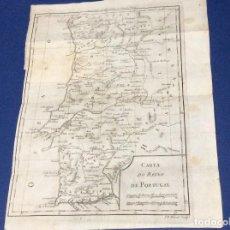 Arte: CARTA DEL REINO DE PORTUGAL / F.D. MILCENT, ESCULPIR , 1780. MUY RARO. EXCELENTE PRECIO DE SALIDA.. Lote 128495763