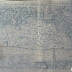 Arte: MAPA DE LONDRES 1666 /PLAN OF THE CITY AND LUBERTIES OF LONDON AFTER THE DREAFUL CONFLAGRATION IN. Lote 128515990