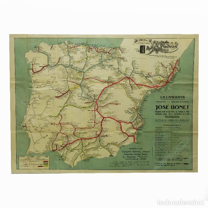 Mapa De España Bonito.1930c Bonito Mapa De Espana Con Publicidad