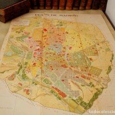 Arte: DESCOMUNAL PLANO DE DESPEGABLE DE MADRID -1 METRO DE LARGO- 1900 MAPA LITOGRÁFICO A COLOR -100X72 CM. Lote 128657183