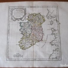 Arte: MAPA DE IRLANDA, 1784. VAUGONDY/DELACROIX/DELAMARCHE/DUSSY/ARRIVET. Lote 128917015