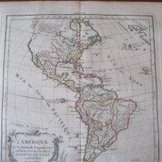 Arte: MAPA DE AMÉRICA, 1784. VAUGONDY/DELACROIX/DELAMARCHE/DUSSY/ARRIVET. Lote 128917543