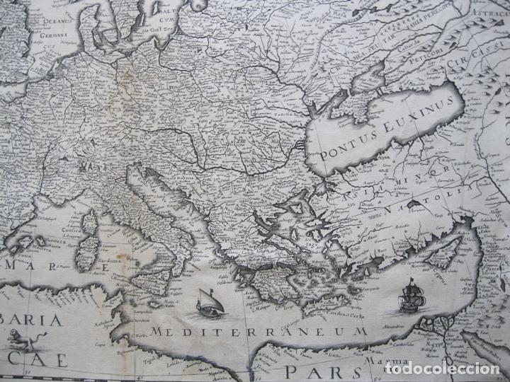 Arte: Gran mapa de Europa, 1636. J. Hondius - Foto 5 - 128919847